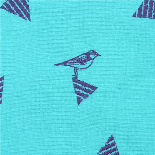 turquoise-green echino embroidered canvas fabric with triangle bird animal