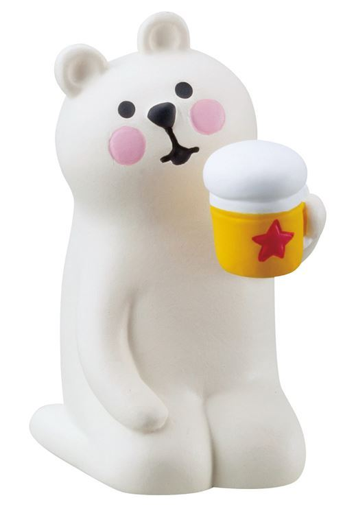 kneeling cream bear with a drink figurine Japan