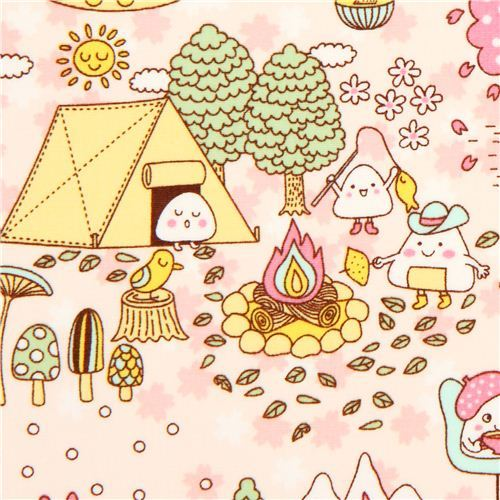 kawaii Onigiri Japanese rice balls fabric from the USA