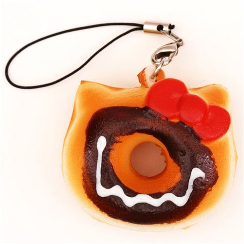 Hello Kitty brown donut squishy charm for cellphone or bag