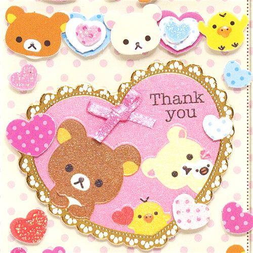 cute Rilakkuma 3D Stickers hearts thank you ribbon