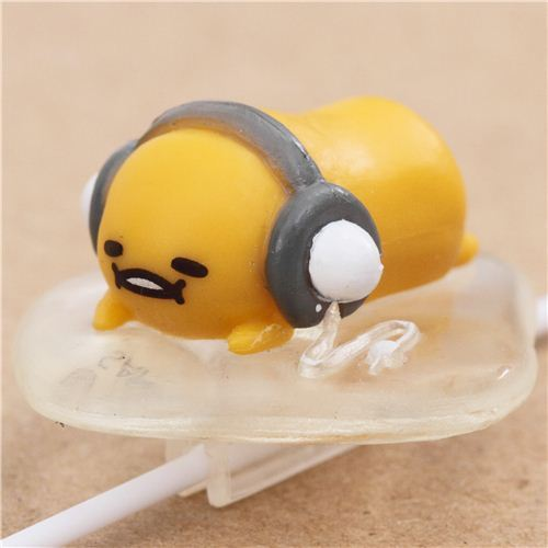 Gudetama egg yolk wearing headphones earphone clip accessory