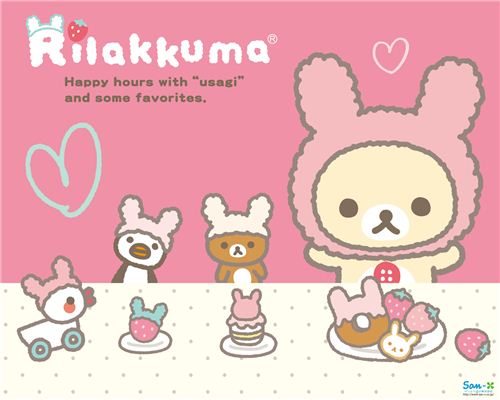 Rilakkuma and friends dressed up as bunnies