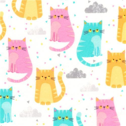 Robert Kaufman flannel fabric in white with colorful cats
