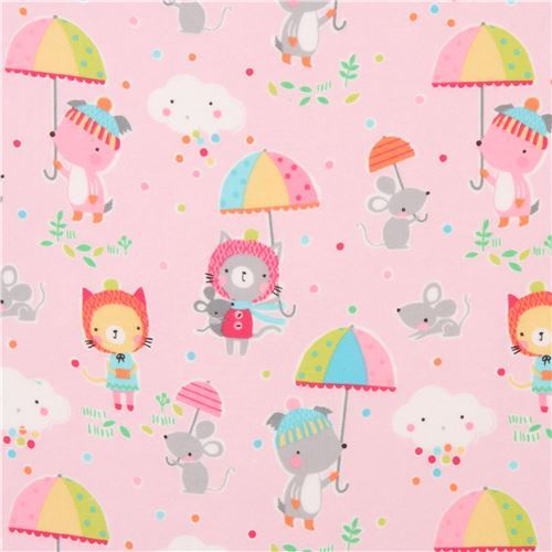 light pink animal umbrella dot Michael Miller flannel fabric from the USA