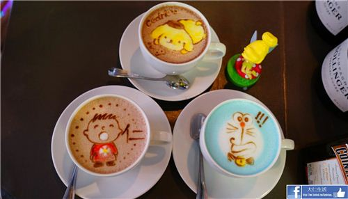 Fun latte art in Hong Kong's cafe R&C, picture from U-Travel Blog