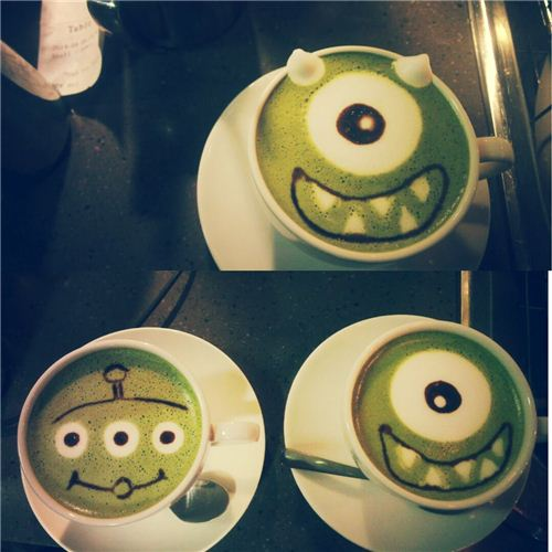 Super cool Monsters University and Toy Story lattes, picture from Cafe R&C Facebook page