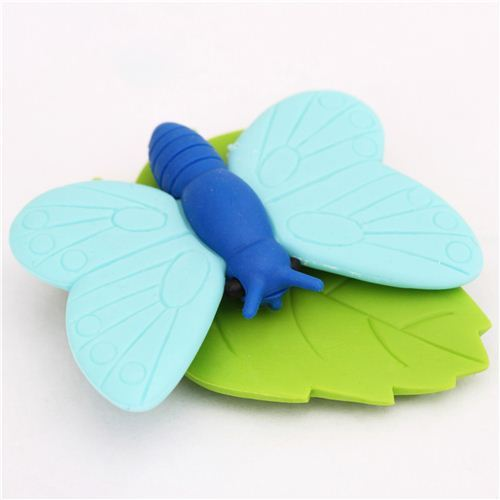 blue butterfly animal eraser by Iwako from Japan