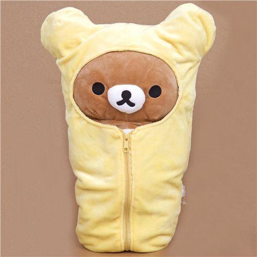 big Rilakkuma plush toy brown bear in sleeping bag