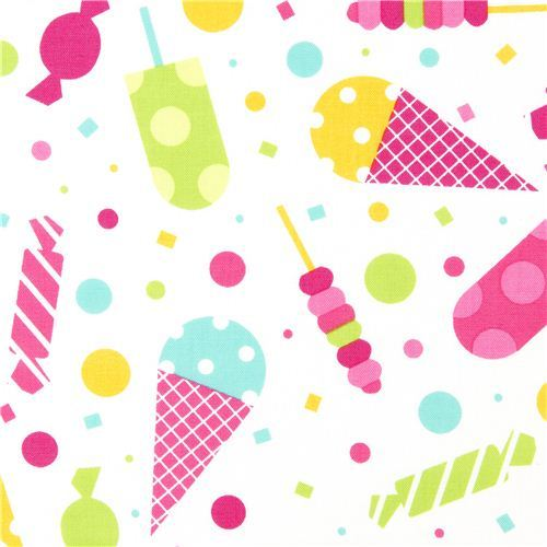white fabric ice cream cone & sweets by Robert Kaufman