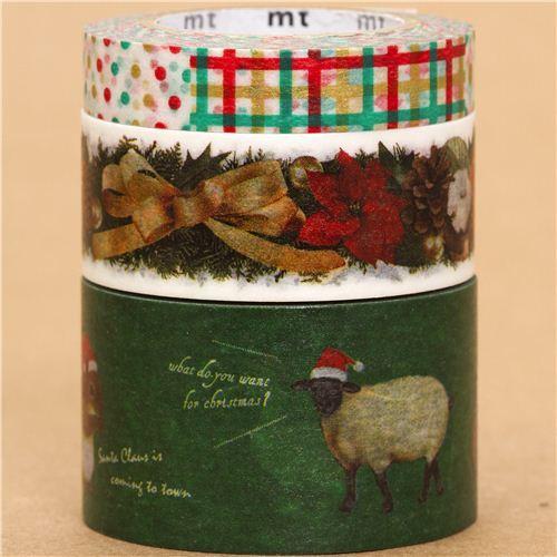 Christmas mt Masking Tape deco tape set 3pcs animals pattern