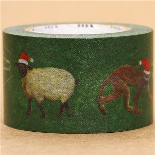 green Christmas mt Washi deco tape animals with red cap