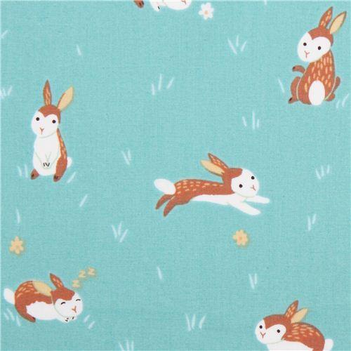 aqua rabbit animal Clothworks organic fabric Critter Patch