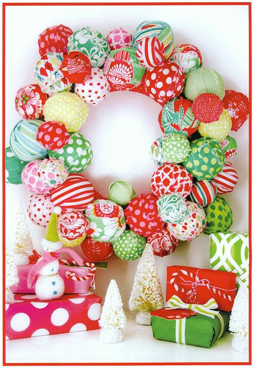 A very pretty fabric Christmas wreath seen in the Michael Miller cataloge