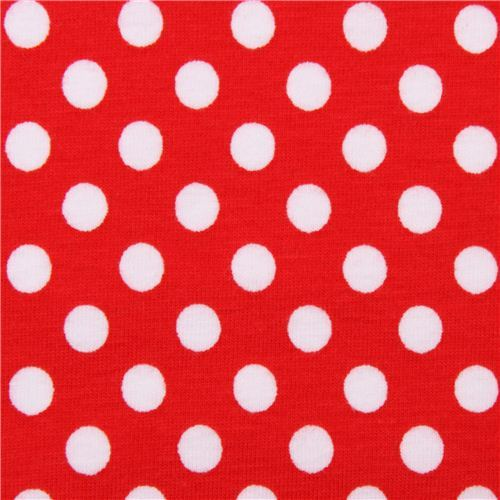 red Riley Blake polka dot knit fabric from the USA