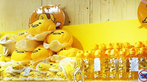 Some of the special Gudetama items in the shop.