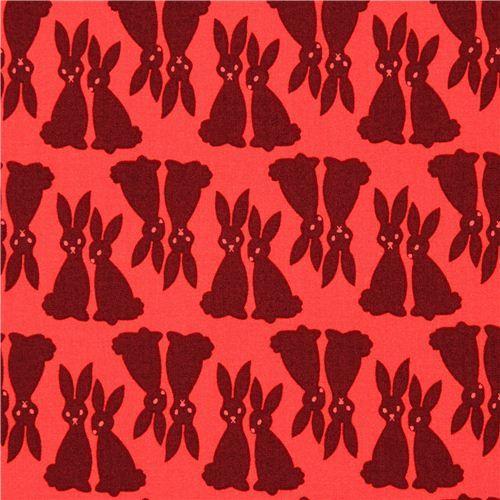 red Robert Kaufman dark brown rabbit fabric