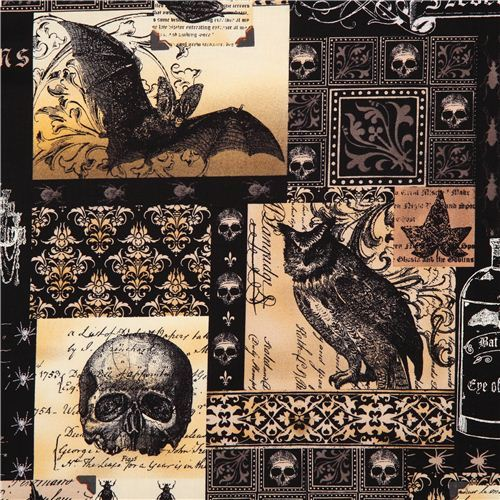 black skull fabric by Michael Miller owl bat