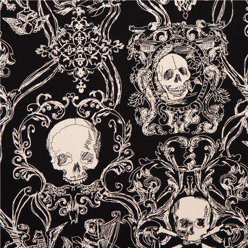 skull heavy oxford fabric black Skullduggery Alexander Henry