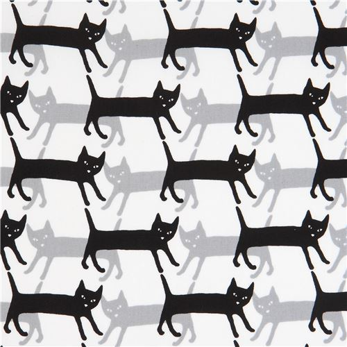white Robert Kaufman grey black cat fabric Sevenberry Mini Prints