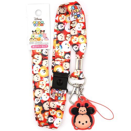 red Mickey Mouse and friends Disney lanyard with charm