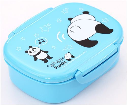 blue Furi Furi dancing panda lacquer Bento Box lunch box Prime Nakamura