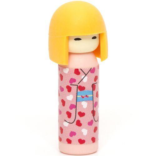 Japanese Kokeshi dolls eraser hearts from Japan