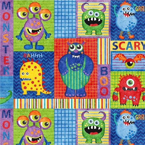 colorful fabric square rectangle monster by Northcott Stonehenge Monsters