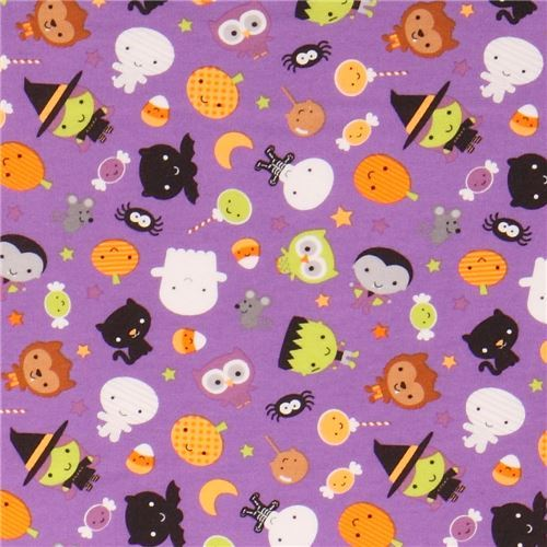 purple cute vampire cat knit fabric Riley Blake Ghouls and Goodies