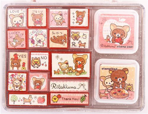 big deer Rilakkuma stamp set bear owl forest apple