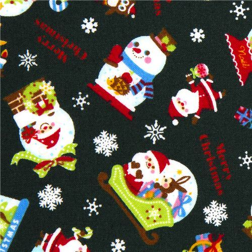 green Christmas fabric Santa Claus animals snowflakes