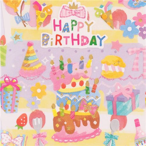 Kamio Happy Birthday birthday stickers cake macarons party hat