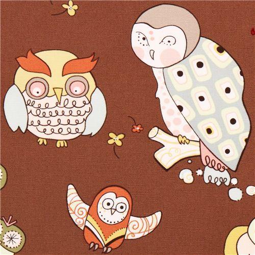 brown heavy oxford owl fabric Alexander Henry USA