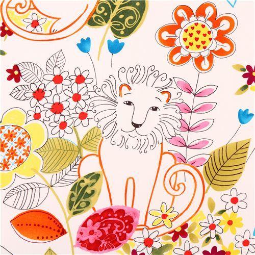white heavy oxford lion fabric Alexander Henry Home Decor