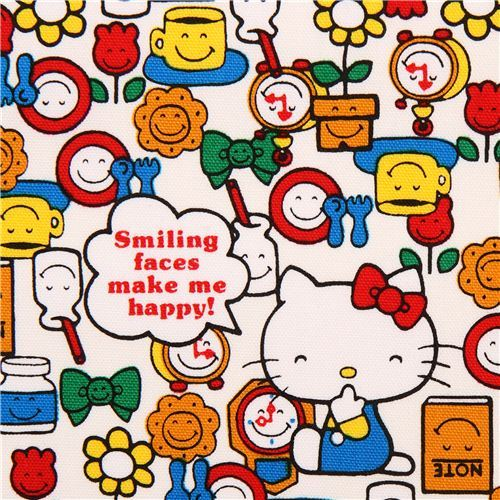white Hello Kitty Smile oxford fabric garden tulip flower by Sanrio from Japan