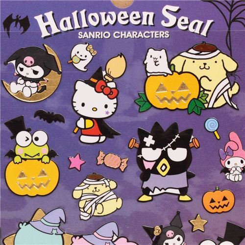 funny Hello Kitty Halloween stickers with gold metallic by Kamio from Japan