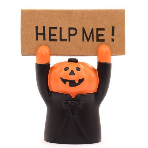 funny black Halloween pumpkin card holder figurine from Japan