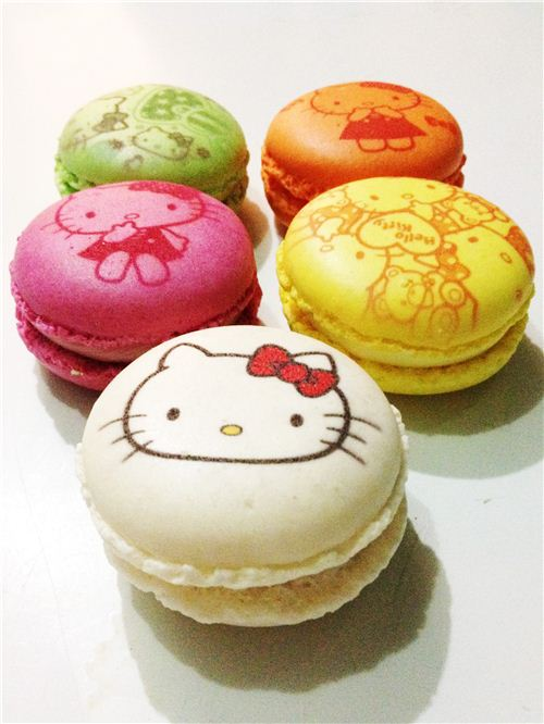 Our yummy macarons from Hello Kitty Le petit Cafe in Hong Kong