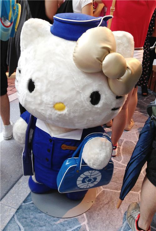 Hello Kitty as a flight attendant from the 1960s