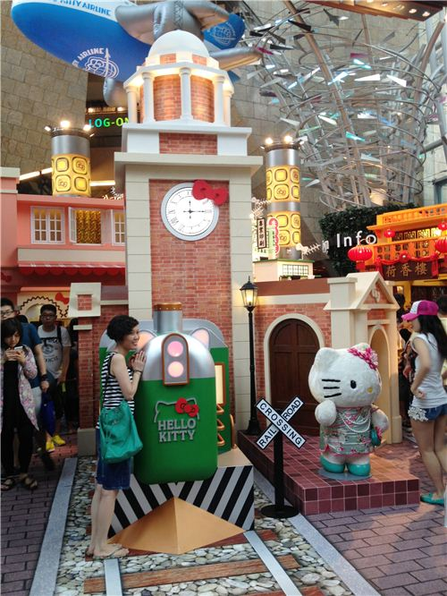 The Hello Kitty railway station in Hong Kong with the famous Clock Tower