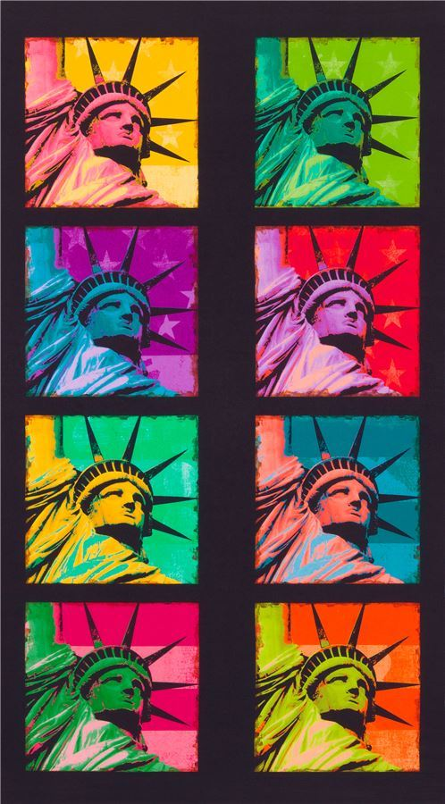 colorful Statue of Liberty fabric by Robert Kaufman