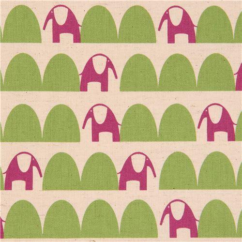 natural color cute purple elephant green half oval Canvas fabric Kokka Japan