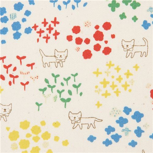 cat animal oxford natural color with colorful flower fabric by Kokka