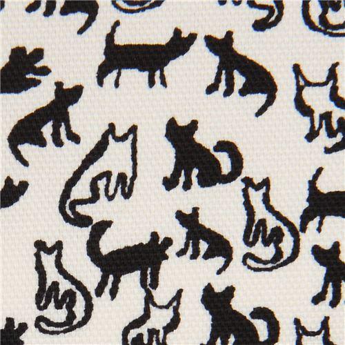 cream Oxford fabric small black cat animal from Japan