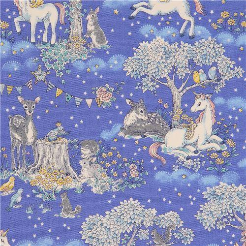 dark periwinkle unicorn oxford fabric by Kokka from Japan