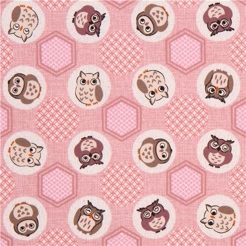 mauve cute owl animal circle hexagon Oxford fabric from Japan