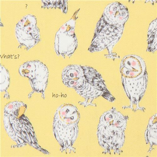 owl budgie bird animal yellow oxford fabric by Kokka