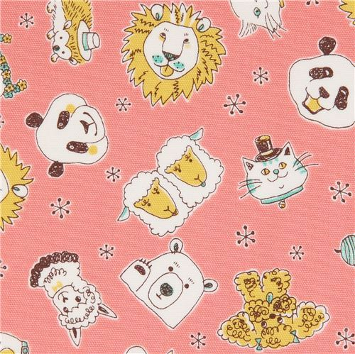 peach-pink animal oxford fabric by Kokka from Japan