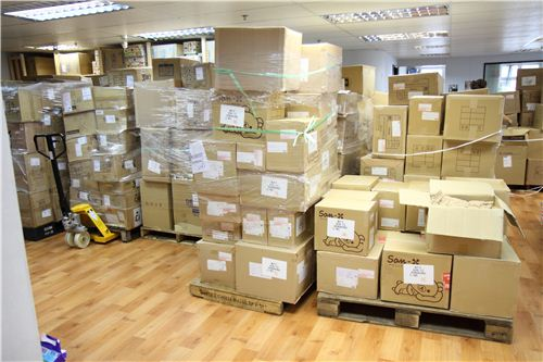 Our office is blocked by hundreds of boxes