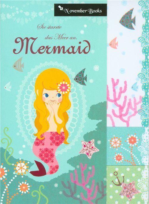 Mermaid Post-it bookmark stickers fishes coral